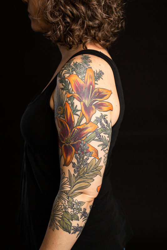 floral flower flowers color tattoo tattoos sleeve daisy lily herbs dlacie jeanne