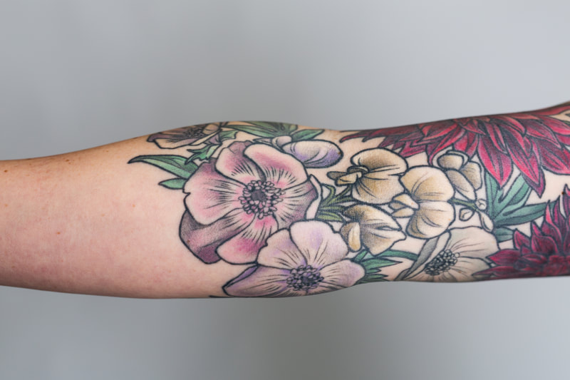 color floral flower flowers woman sleeve tattoo tattoos dlacie jeanne