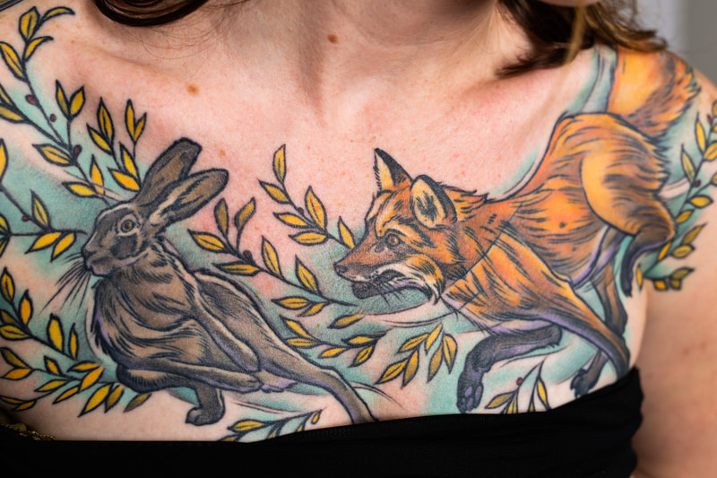 floral flower flowers color tattoo tattoos Portland Oregon woman fox hare rabbit neutral