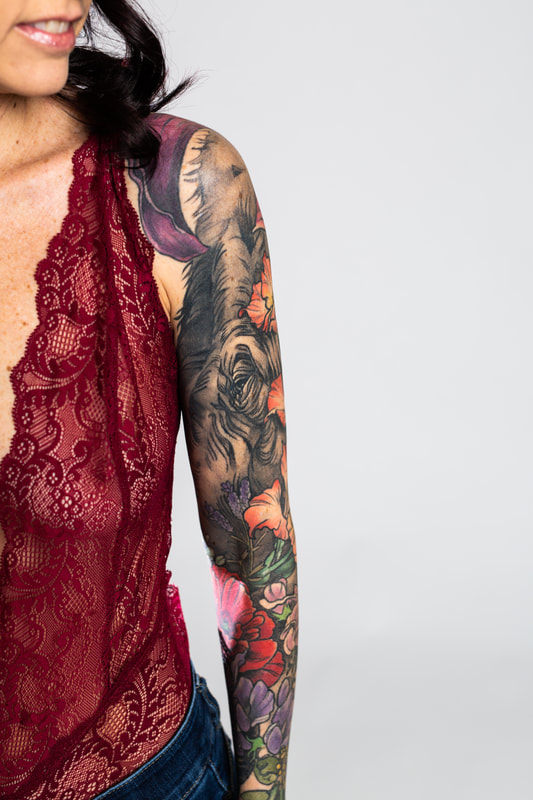 color floral flower flowers woman sleeve tattoo tattoos dlacie jeanne elephant