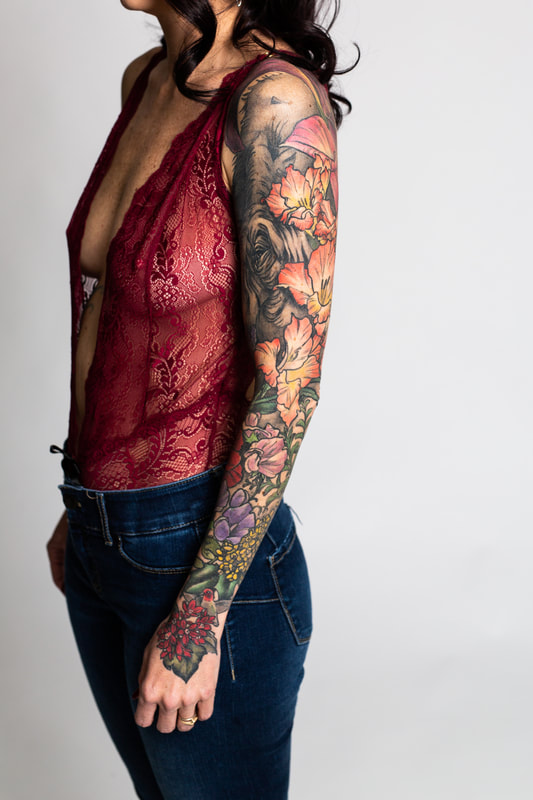 color floral flower flowers woman sleeve tattoo tattoos dlacie jeanne elephant boudoir