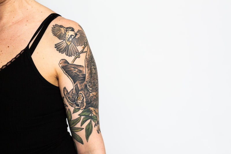 woman owl bird neutral color sleeve tattoo dlacie jeanne