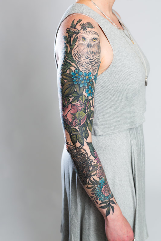 floral sleeve flower flowers tattoo tattoos woman color