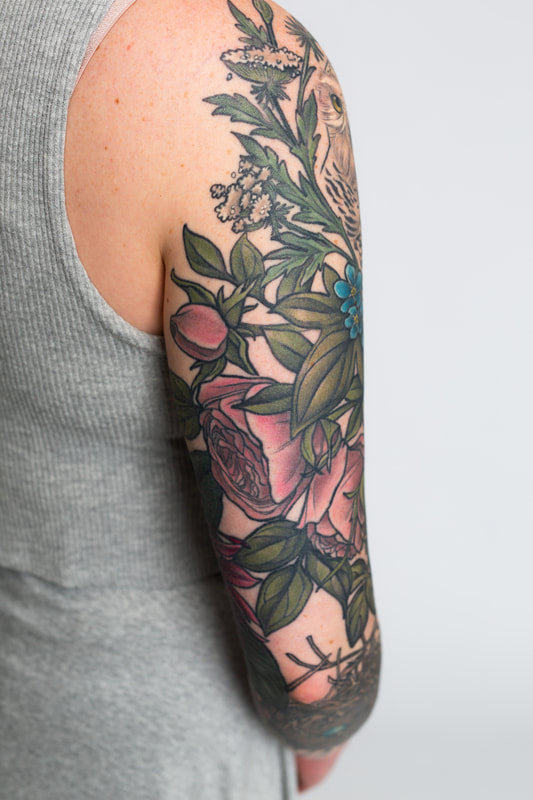 floral sleeve flower flowers tattoo tattoos woman rose color neutral