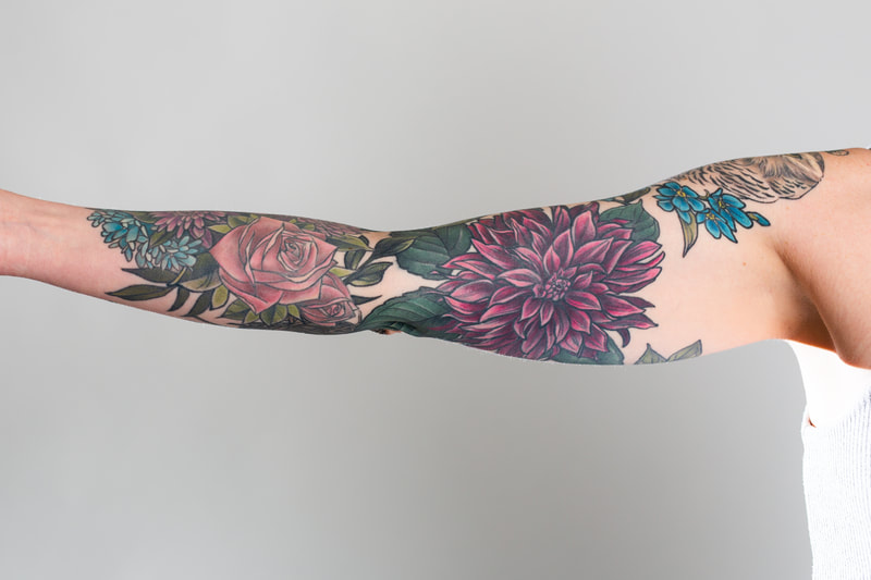 floral sleeve flower flowers tattoo tattoos woman dahlia color