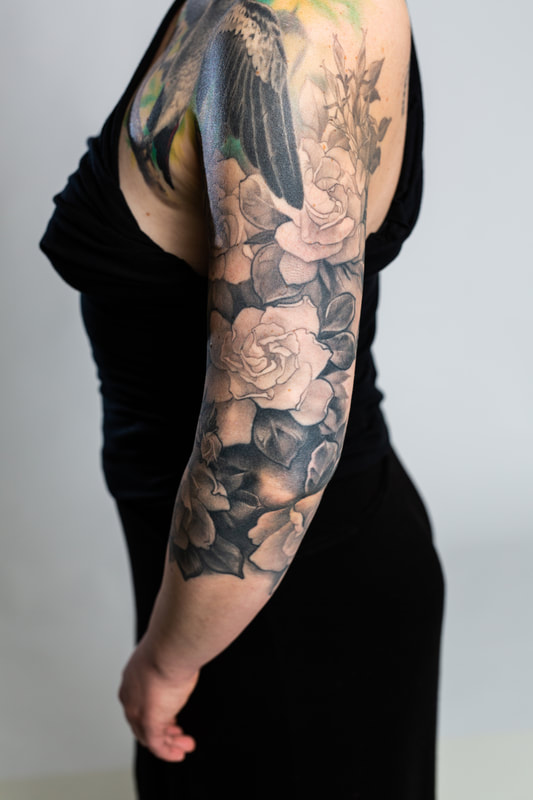 floral sleeve flower flowers tattoo tattoos woman gardenia black grey
