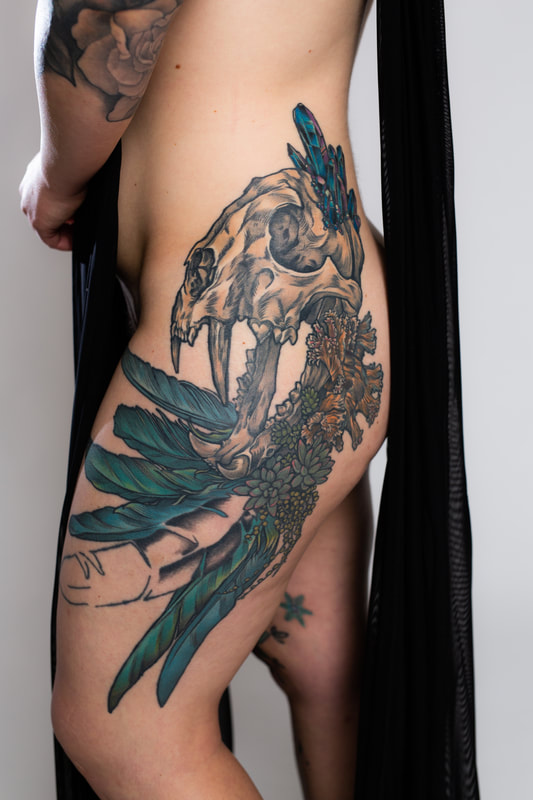 skull woman tattoo tattoos feather shell crystal color