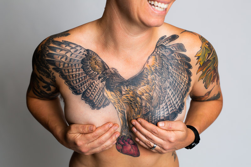 woman chest tattoo tattoos hawk color Portland Oregon