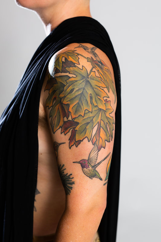 leaves foliage color tattoo tattoos woman Portland Oregon