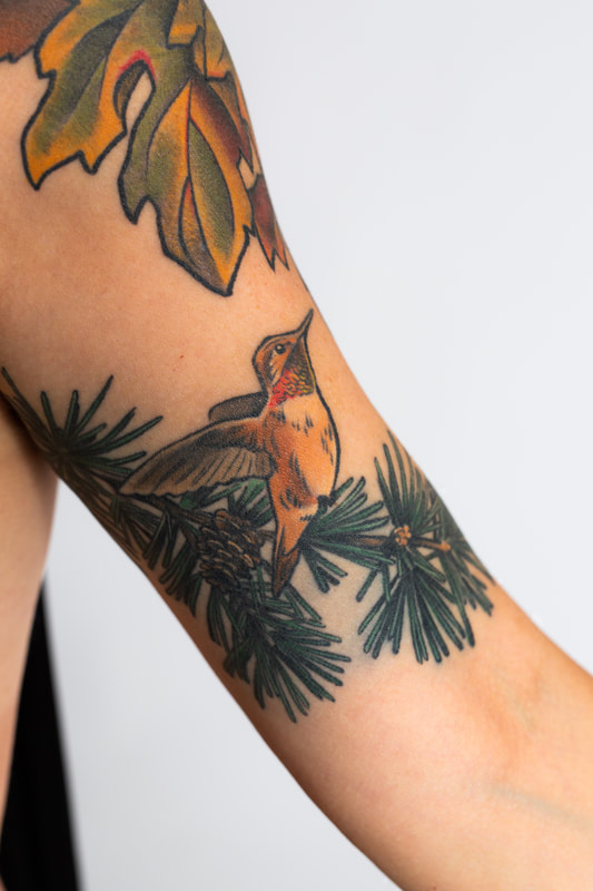 hummingbird color tattoo tattoos woman
