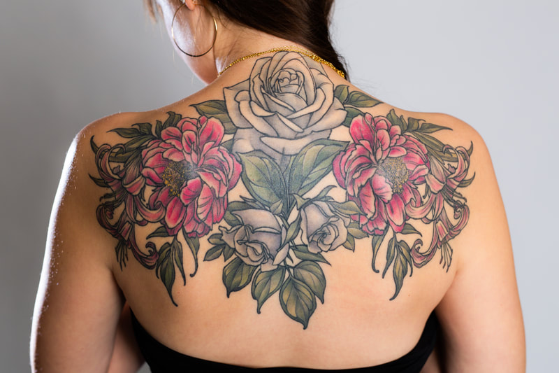 color tattoo tattoos back shoulders Portland Oregon rose peony