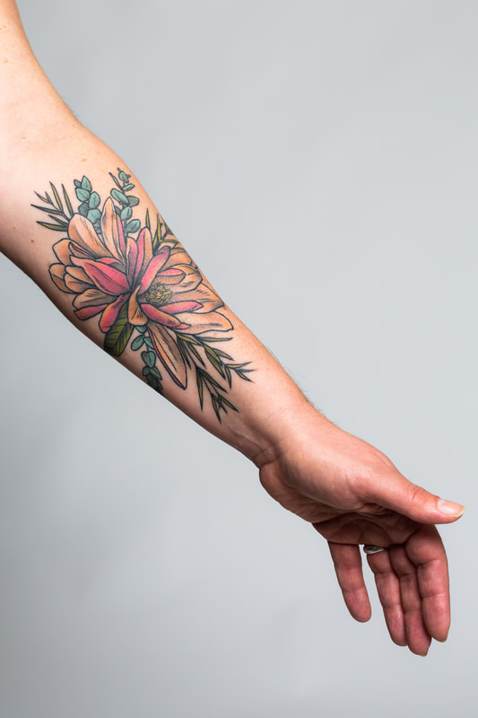 magnolia color tattoo tattoos woman Portland Oregon