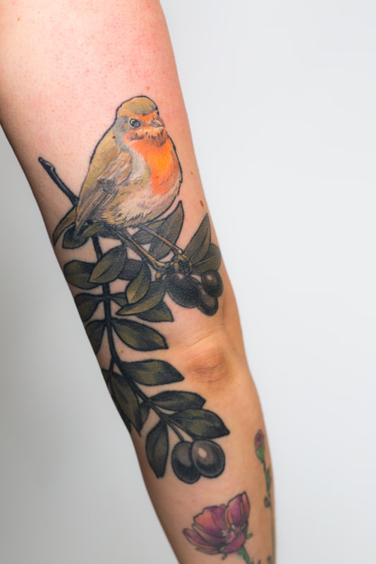 robin olive color tattoo tattoos woman Portland Oregon