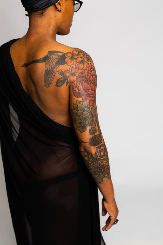 floral flower flowers color tattoo tattoos Portland Oregon woman POC