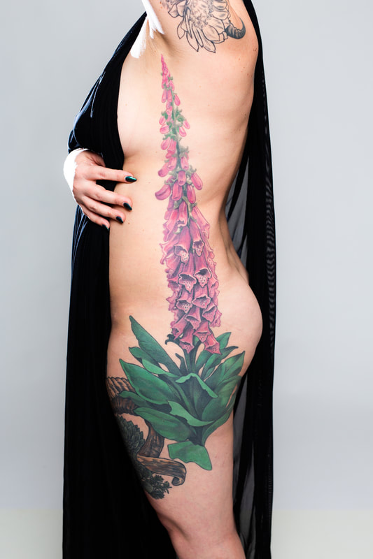 floral flower flowers color tattoo tattoos Oregon woman foxglove