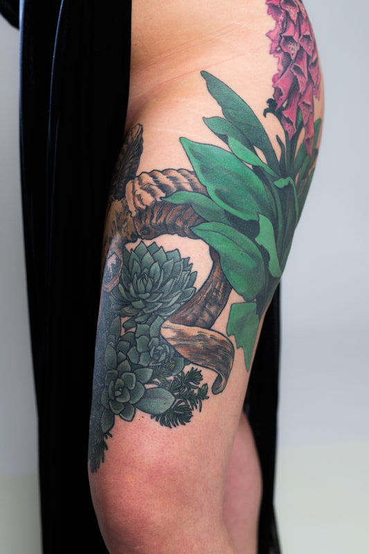 succulents skullfloral flower flowers color tattoo tattoos Portland Oregon woman