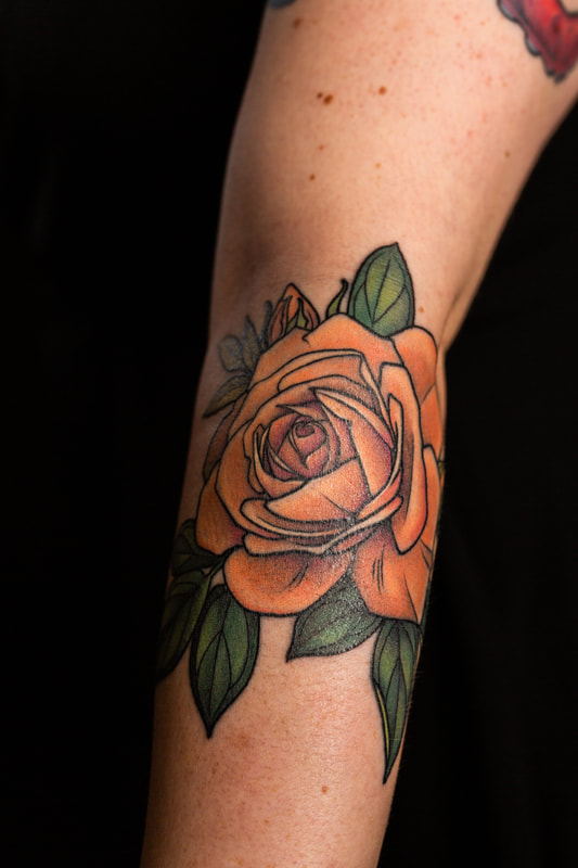 feminine rose tattoo tattoos orange color flower flowers floral arm