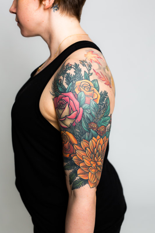 color floral flower flowers rose dahlia fern woman sleeve tattoo
