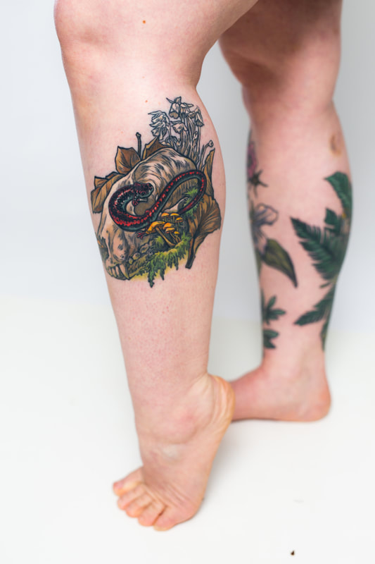 skull salamander decay moss mushrooms leaves tattoo tattoos leg woman color