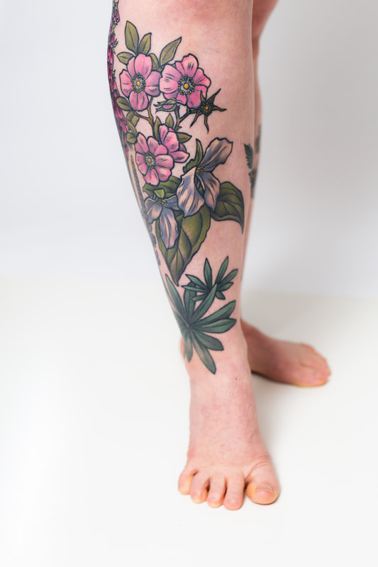 floral flower flowers leg woman tattoo tattoos sleeve  rose trillium color neutral