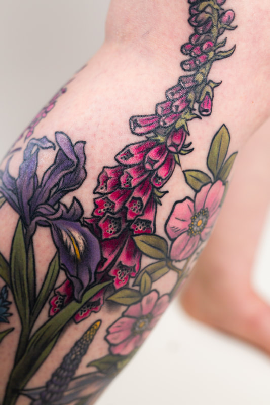 floral flower flowers leg woman tattoo tattoos sleeve  rose trillium color neutral foxglove iris