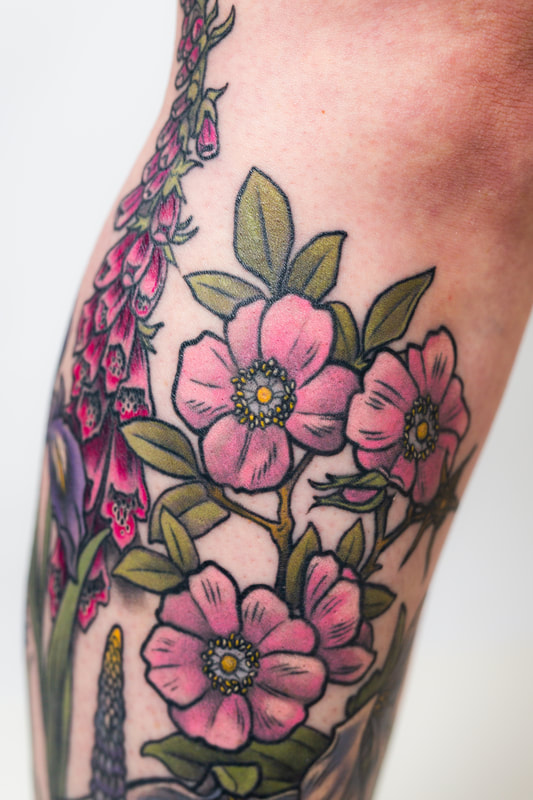 floral flower flowers leg woman tattoo tattoos sleeve  rose trillium color neutral dlacie jeanne