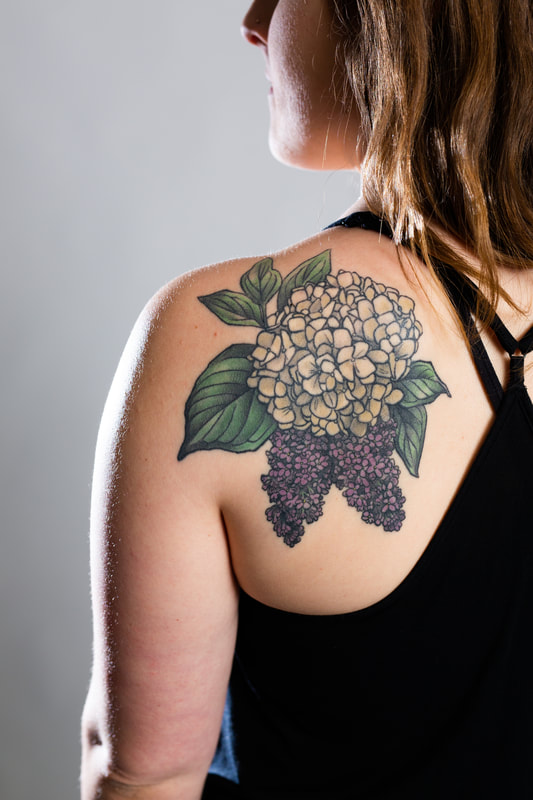 hydrangea lilac floral flower flowers tattoo tattoos woman shoulder dlacie jeanne