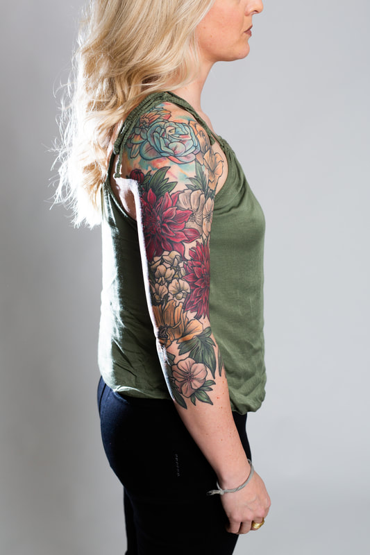 color floral flower flowers woman sleeve tattoo tattoos dlacie jeanne dahlia